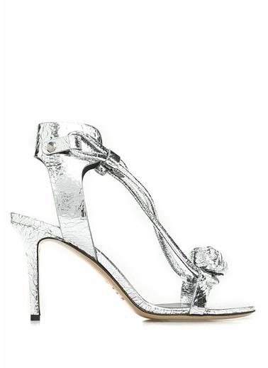 Etoile İsabel Marant İnce Topuklu %100 Deri Sandalet Gümüş
